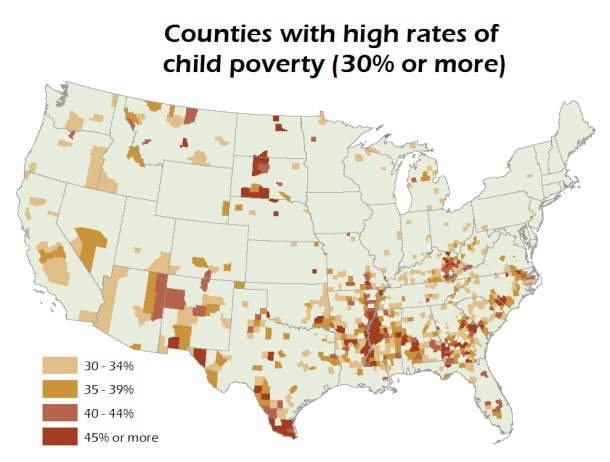 "Inforgraphic: Map of the US highlighting counties with high rates of child poverty (with ""high"" meaning 30% or more). The majority of high-child-poverty counties are concentrated in the Southeastern United States, the lower Mississippi Delta, Texas, and Central Appalachia. Rural Tribal lands of the Southwest and northern Great Plains also fall into this category. And, regardless of region, rural areas with significant Hispanic or Latino populations have experienced high child poverty."