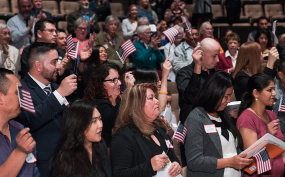 Swearing in ceremony for new U.S. citizens.